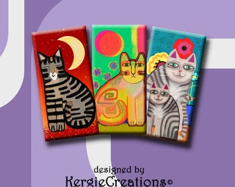 FUNKY CATS  -  Digital Collage Sheet 1x2 inch domino images for pendants, rectangle bezel settings, magnets.  Instant Download #213.