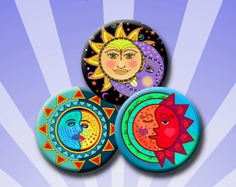 SUN AND MOON -  Digital Collage Sheet 1.629 inch round images for 1.25 inch buttons. Instant Download #220.
