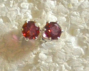 Red Pink Topaz Stud Earrings, 6mm Round, Natural, Set in Sterling Silver  E881