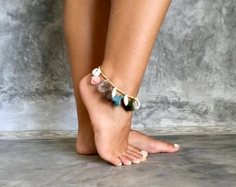 Five Tassel Shell Anklet -  Wooden Beaded with 5 Cowrie Shells and 7 Cotton Tassels