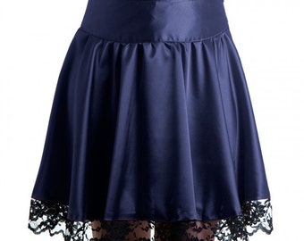 Victoria Skirt classy satin purple with black lace round goth romantic dark victorian. Limited Edition Handmade in Italy