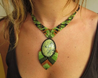 Serpentine Green Black Macrame Necklace Creation handmade with natural serpentine stone cabochon
