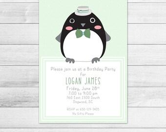 Dapper Penguin Birthday Party Invitation, Printable Digital Invite File, Gender Neutral, Green