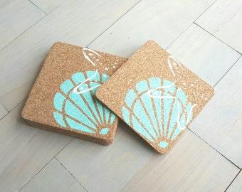 Beach Coasters, Cork Coasters, Set of 6