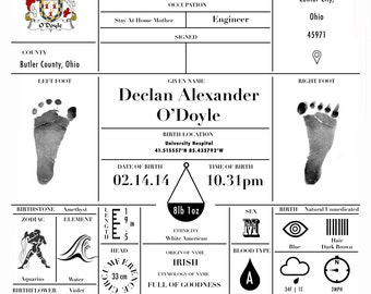 Personalized Birth 16x20 Certificate/Announcement -- Boy