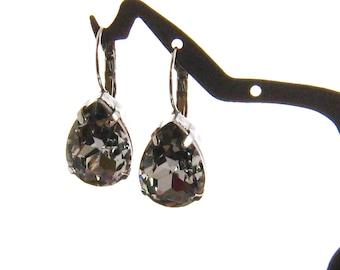 Grey Crystal Earrings, Grey Bridesmaid Jewelry Gift, Grey Drop Earrings, Grey Wedding Jewelry, Bridesmaid Gift, Christmas Gift, Jewelry Gift