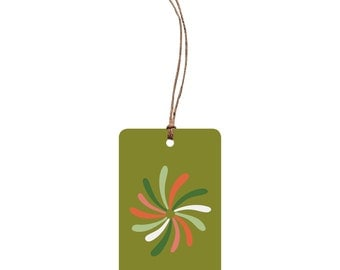 Festive Gift Tag – Happy New Year. Illustration. Fireworks. Celebration Tag. Non Religious Festive Tag. Red and Green. Quirky Festive Tag.