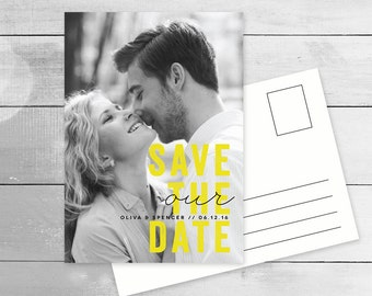 Modern Photo Save the Date Postcard, Bright Fun Pop of Colour, printable in yellow, turquoise, blue or magenta