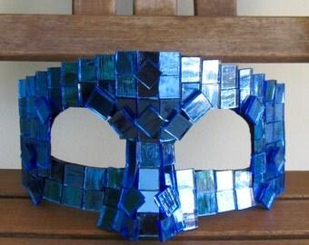 Steampunk Masquerade mask, Blue Glass Mask - Triton