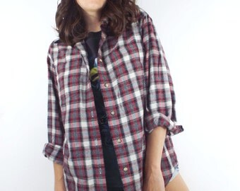 Vintage 90s Red and Black Oversized Flannel