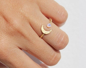Rings, Opal Ring, Best Friend Gift, Boho Ring, Moonstone Ring, Stacking Rings, Gift Sister ,Ring Gold, Moon Ring,Gold Rings,Birthstone Ring
