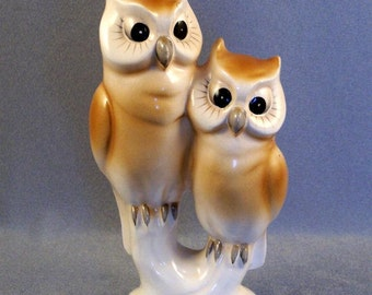"Pair of Owls Figurine // Collectible // Very Vintage // Made in Japan // Marked with 3 Leaf Clover // Wreath and ""Japan"""