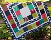 Modern baby quilt for boy or girl, lap quilt, quilted wallhanging, sofa throw, blanket, pieced navy, white, fuchsia, turquoise, handmade