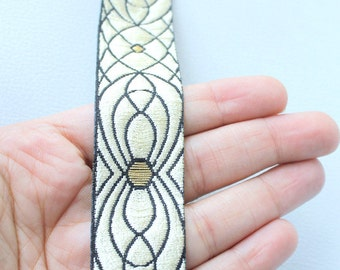 Black, Gold And Beige Embroidery Fabric Lace Trim, Approx. 27mm Wide - 140316L30