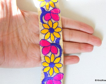 Beige Fabric Trim With Yellow, Blue And Orange Floral Embroidery, Approx. 34mm Wide - 140316L242A