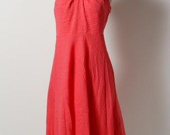 J.CREW Coral 100% Cotton Halter Casual Flare Empire Waist Dress Sz 10
