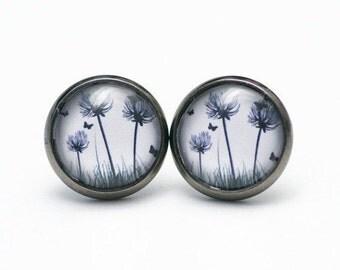 """Earrings """"Dandelion greyblack"""" - S3065"""