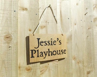 Personalised Playhouse Sign - Wooden kids sign - Nursery Sign - Playroom Sign - Kids Sign - Hanging Sign - Rustic wood sign - Custom Sign