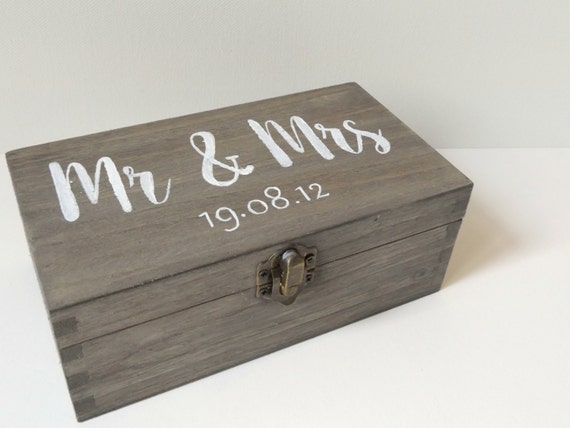 Personalised mr mrs wooden box wooden wedding by makememento for Diy decorative wood boxes