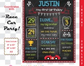 Race Car Printable Chalkboard Sign | 1st 2nd 3rd Birthday | Racing Personalized Poster | Instant Download & Edit in Adobe Reader