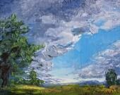 "Rhoneymeade Skies, Oil on 5x7"" canvas, by Sean Bodley - Oil Landscape Rhoneymeade, Palette Knife Art, Pennsylvania Painting, Fine Nature Art"