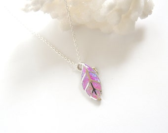 Pink Fire Opal Leaf Necklace, Opal Necklace, Opal Pendant, Opal Jewelry, Leaf Necklace, Opal Birthstone.