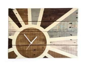 Indian Sunset hand painted on reclaimed pallet - art wall clock