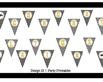 Black White Gold Graduation Congratulations Banner Printable Digital