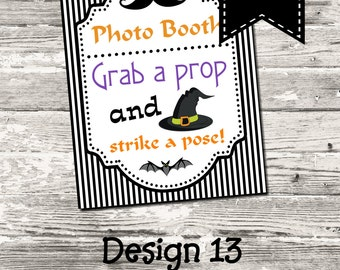 INSTANT DOWNLOAD Halloween Black and White Photo Booth Sign