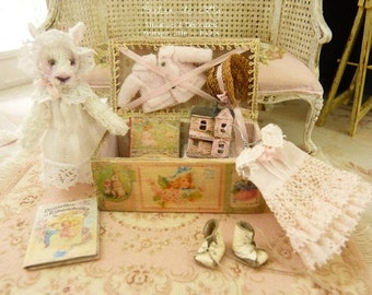 OOAK, Miniature Wooden malle, Rabbit and romantic pink trousseau, Accessories for a  dollhouse in 1:12th scale