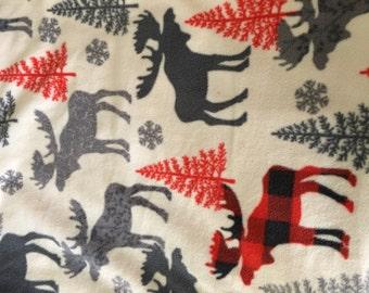 Red Plaid Moose Print Blanket/Throw