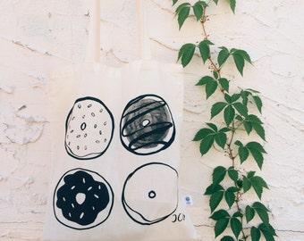 Donut Tote Bag, Organic Cotton tote bag, Screen printed Tote