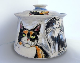 "Cats Cookie Jar, ceramic cookie jar, pottery cannister, cat art, great gift idea, 8"" h x 9"" w, dishwasher and microwave safe."