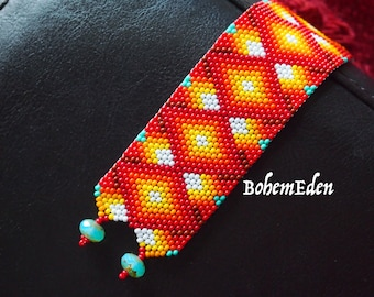 beading pattern: Flaming diamonds seed bead fire ombre odd-count peyote stitch cuff bracelet. MUST KNOW odd-count peyote. download only.