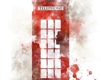 London Red Telephone Box ART PRINT illustration, Wall Art, Home Decor