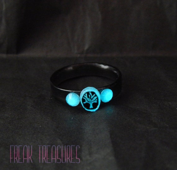 7 us size glow in the dark tree of life resin ring soft for Glow in the dark resin