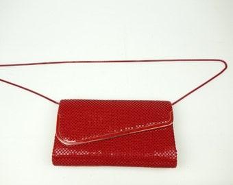 Red metal mesh purse, 80s new wave clutch, long shoulder strap