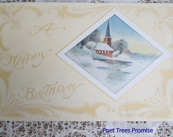 Antique Happy Birthday Post Card with Church Scene
