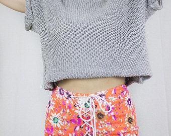 Neon Corset Shorts in Orange Stetch Denim by Get Crooked