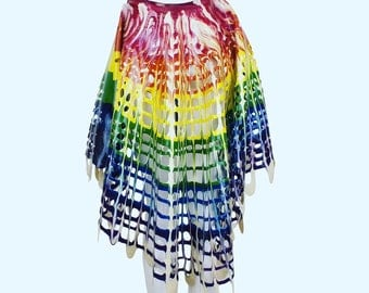 Rainbow High-Low Grid Mesh Latex Skirt