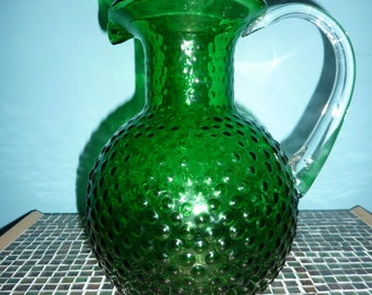 Vintage Emerald Green Hobnob blown glass Pitcher