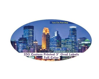"""250 Full Color Labels, 3"""" x 2"""" Oval Custom Printed Stickers"""