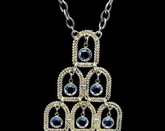 Vintage Runway Necklace Bezel Set Crystal Dangles Pendant Adjustable Chain