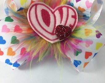 Valentine hair bow-hearts hair bow-love hair bow-valentine felty-love felty-feather boa-hearts button-hearts clip-alligato clip-valentines