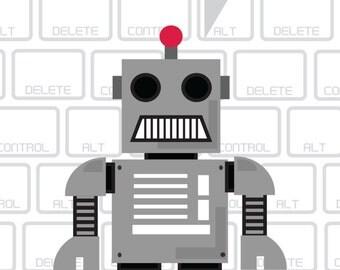 I Wish I Could Force Quit You Robot Print, Robot Print, Robot, Robot, Vintage Robot, Retro Robot, Funny Robot, Robot Love, Robot Art
