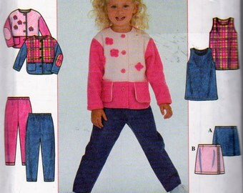 Simplicity 8368, Little Girls Fleece Outfit, Button Jacket, Pullover Jumper, Mock Wrap Skirt, Pull On Pants, Round Neck , Sizes 5,6,7,8