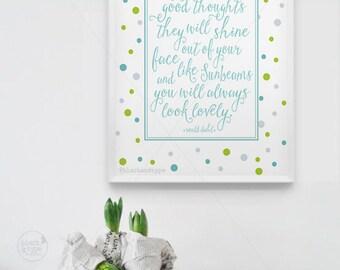 Good Thoughts || roald dahl print, roald dahl, inspirational print, wall art, polkadot print, nursery art, digital art print, roald dahl