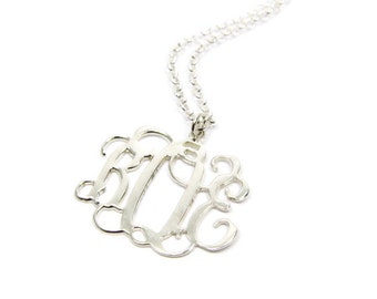 "Personalized Monogram Necklace 1.5"". Sterling silver monogram necklace. Initial necklace. Silver initial necklace. Initial jewelry. gifts"