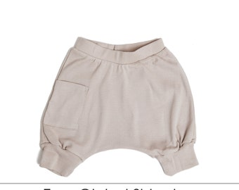 Kids Clothes - Organic Toddler Clothes, Toddler Harem Shorts, Toddler Shorts, Kids Shorts, Toddler Boy Shorts - Mocha, Free Shipping