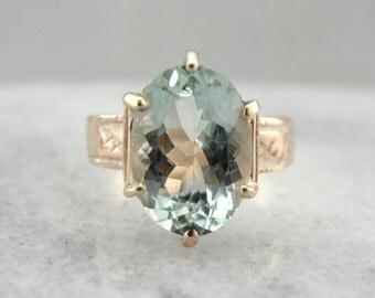 Antique Rose Gold and Aquamarine Ring AALUPC-P